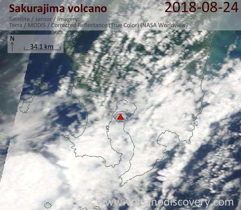 Satellite image of Sakurajima volcano on 24 Aug 2018