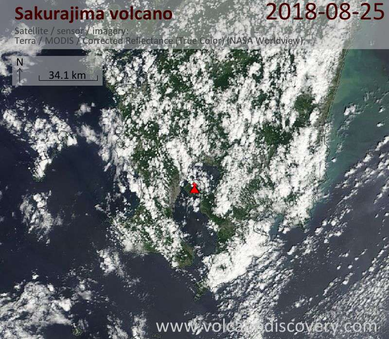 Satellite image of Sakurajima volcano on 25 Aug 2018