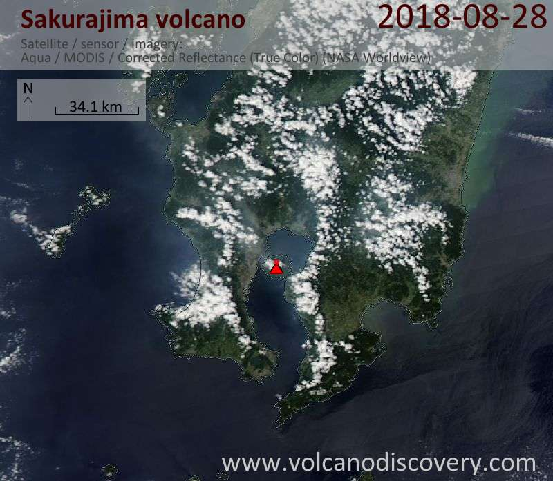 Satellite image of Sakurajima volcano on 28 Aug 2018