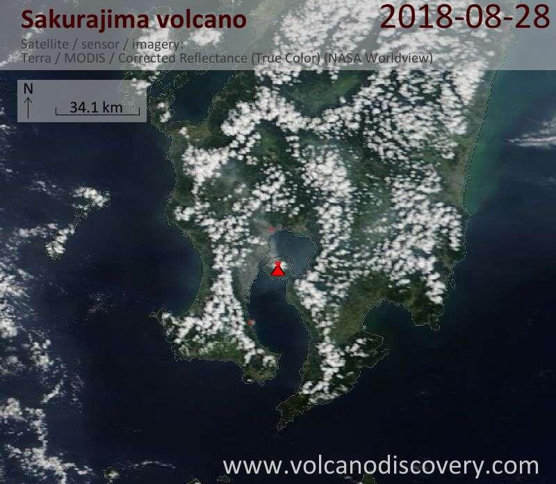 Satellite image of Sakurajima volcano on 29 Aug 2018