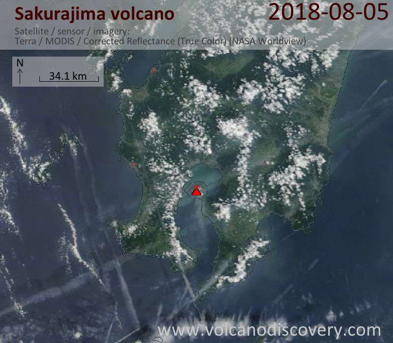 Satellite image of Sakurajima volcano on  5 Aug 2018