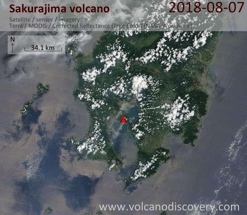 Satellite image of Sakurajima volcano on  7 Aug 2018