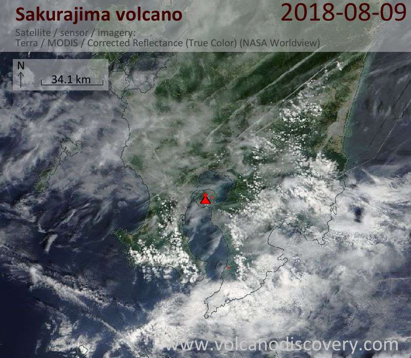 Satellite image of Sakurajima volcano on  9 Aug 2018