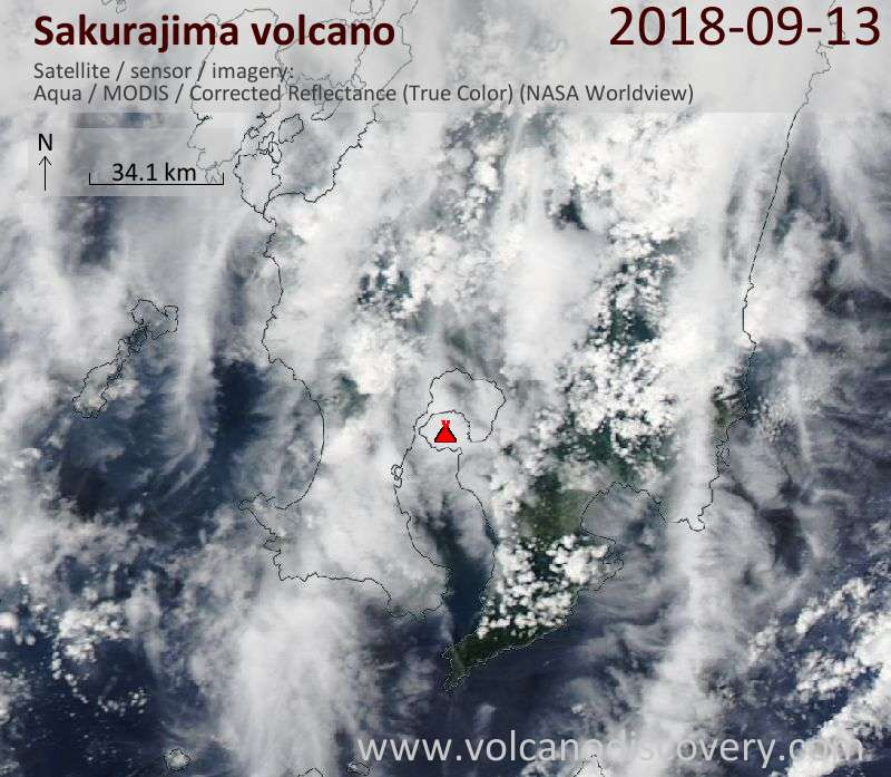 Satellite image of Sakurajima volcano on 13 Sep 2018