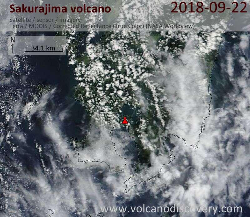 Satellite image of Sakurajima volcano on 22 Sep 2018