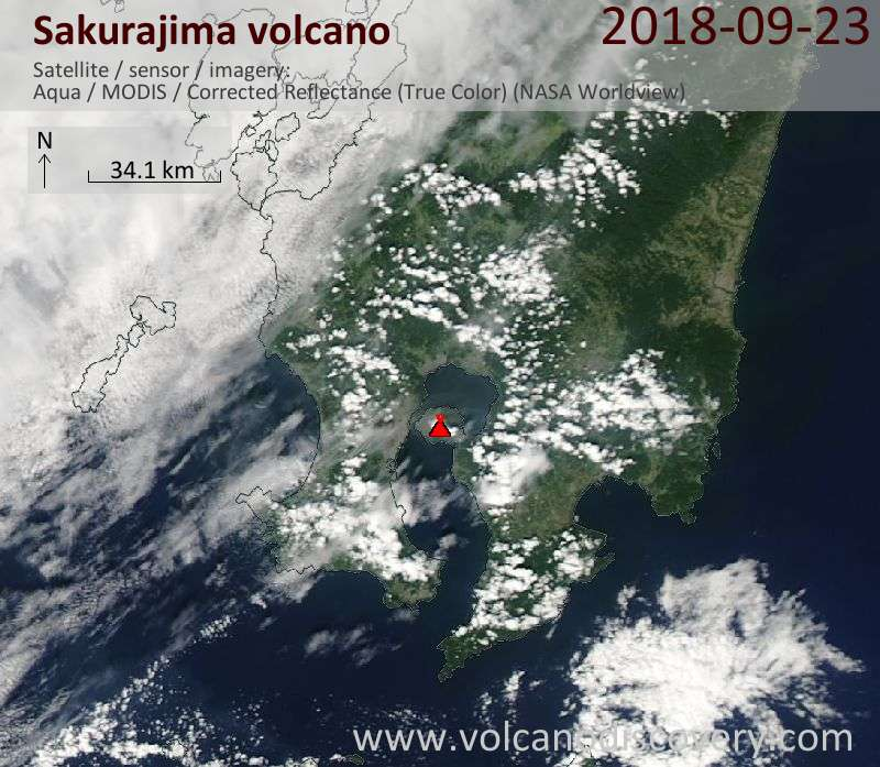Satellite image of Sakurajima volcano on 23 Sep 2018
