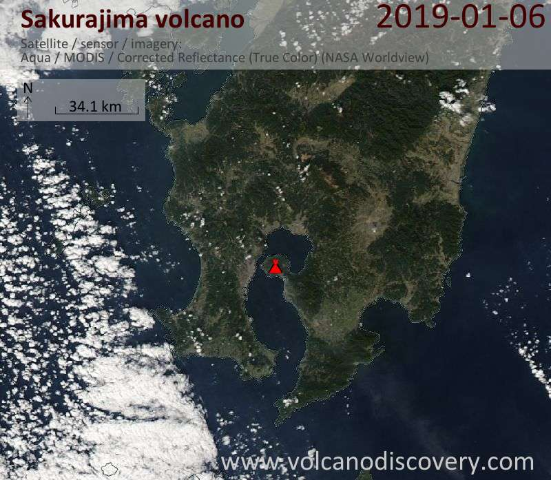 Satellite image of Sakurajima volcano on  6 Jan 2019