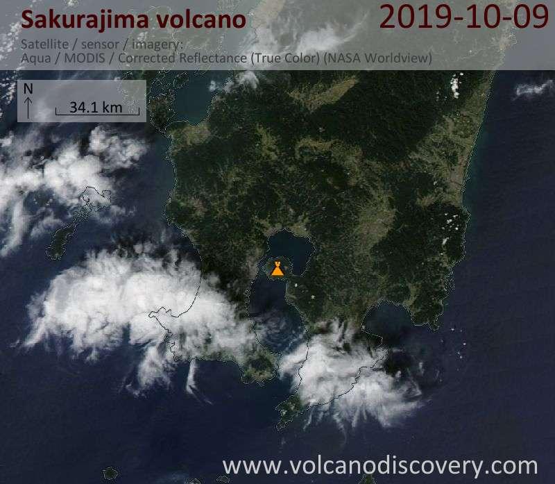Satellite image of Sakurajima volcano on 10 Oct 2019
