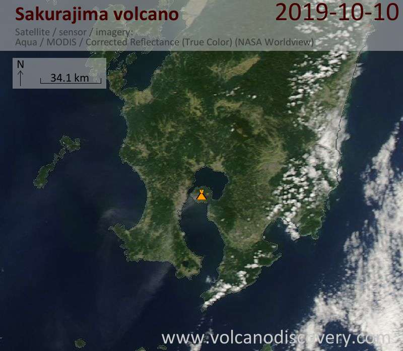 Satellite image of Sakurajima volcano on 11 Oct 2019