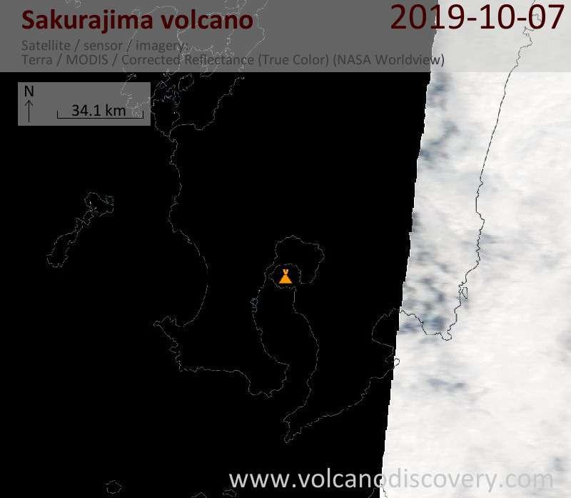 Satellite image of Sakurajima volcano on  7 Oct 2019