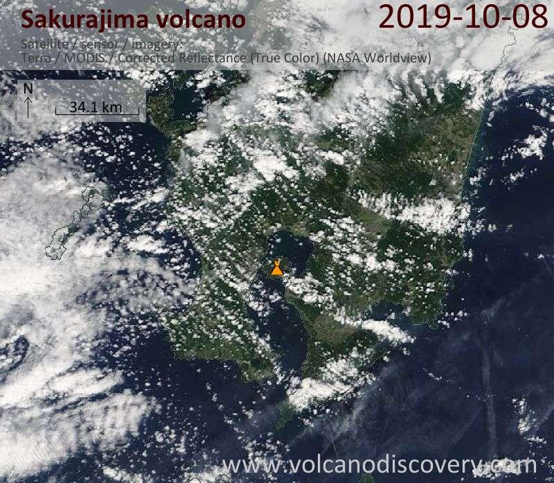 Satellite image of Sakurajima volcano on  8 Oct 2019