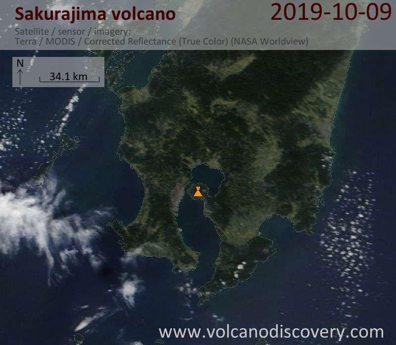 Satellite image of Sakurajima volcano on  9 Oct 2019