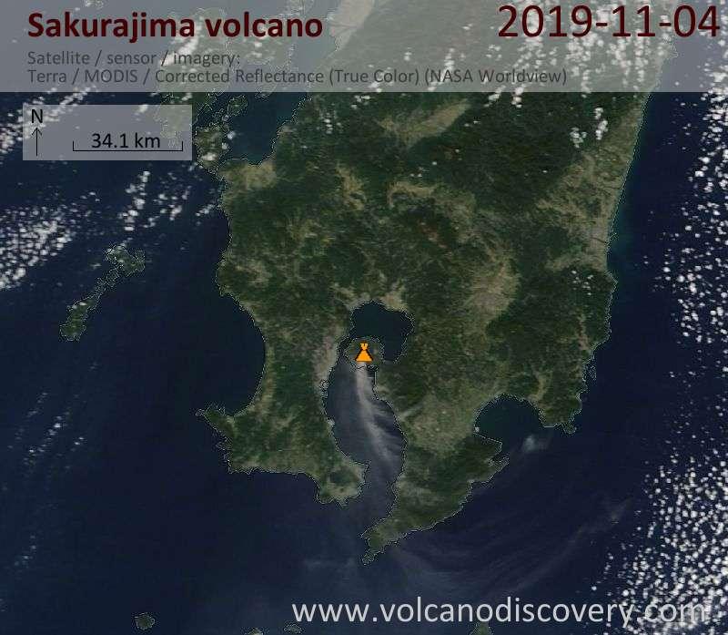 Satellite image of Sakurajima volcano on  4 Nov 2019