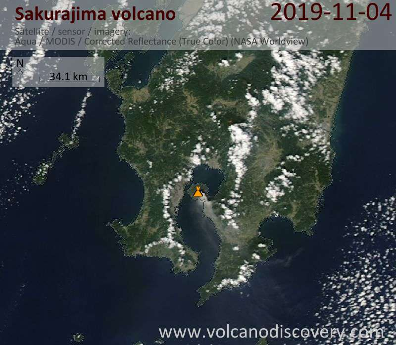 Satellite image of Sakurajima volcano on  5 Nov 2019