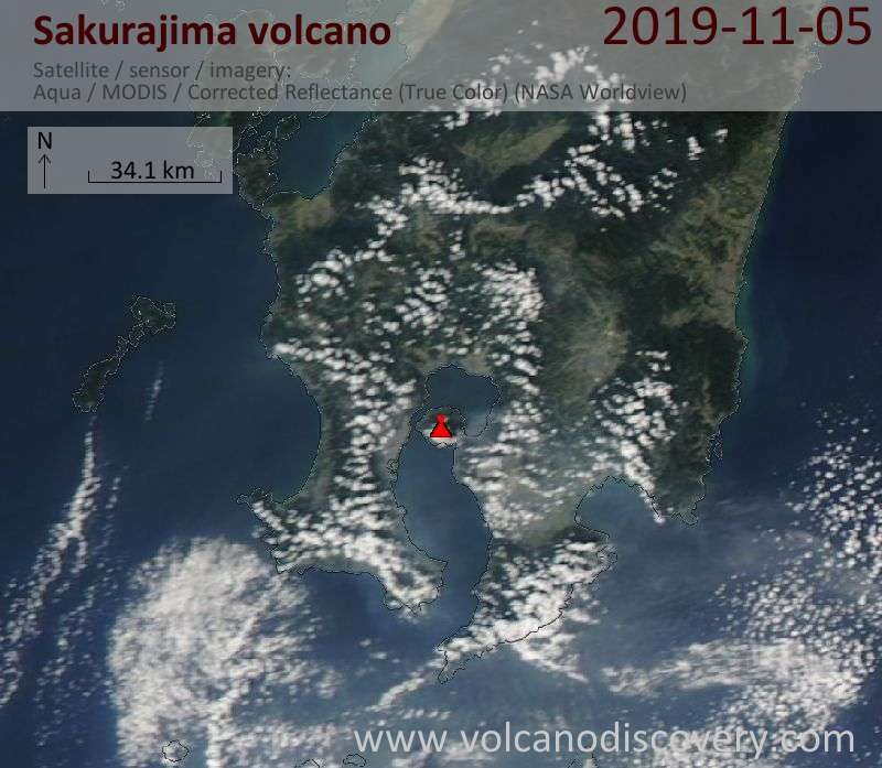 Satellite image of Sakurajima volcano on  6 Nov 2019