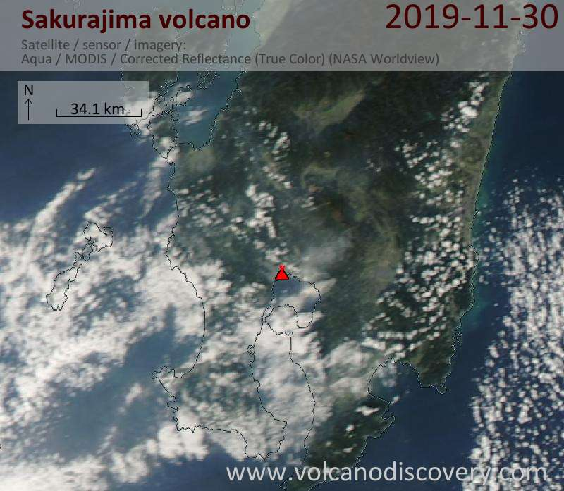 Satellite image of Sakurajima volcano on 1 Dec 2019