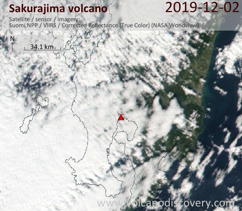 Satellite image of Sakurajima volcano on  3 Dec 2019