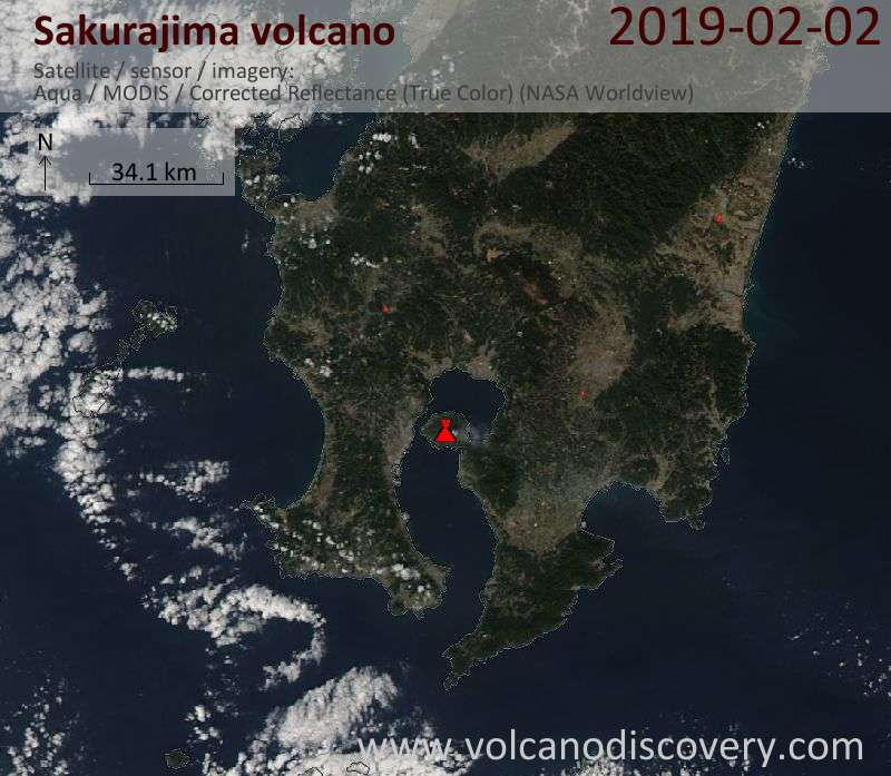 Satellite image of Sakurajima volcano on  2 Feb 2019