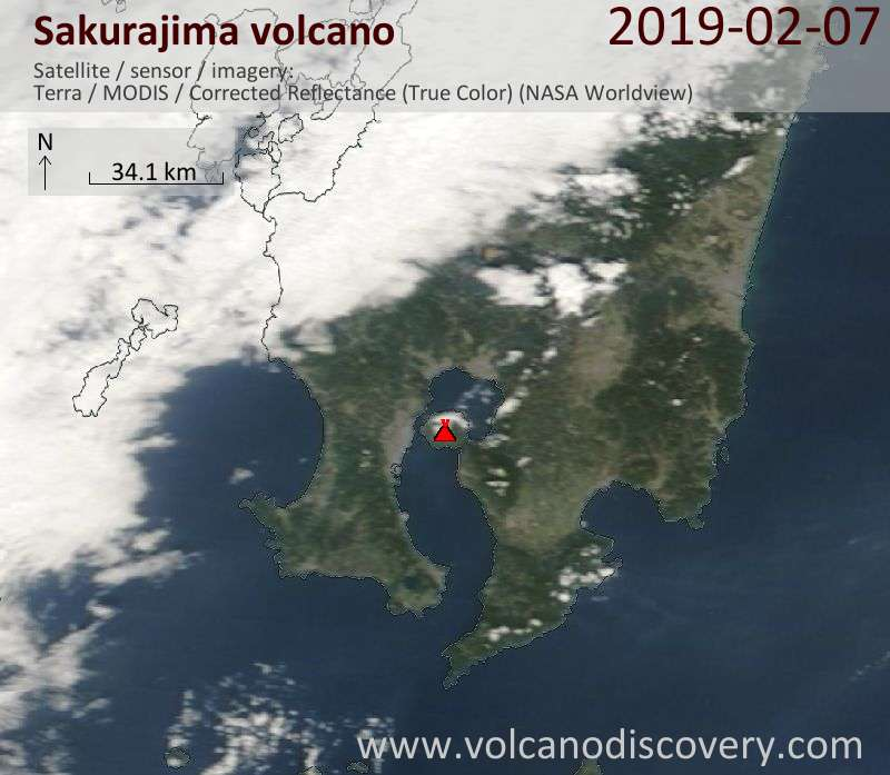 Satellite image of Sakurajima volcano on  8 Feb 2019