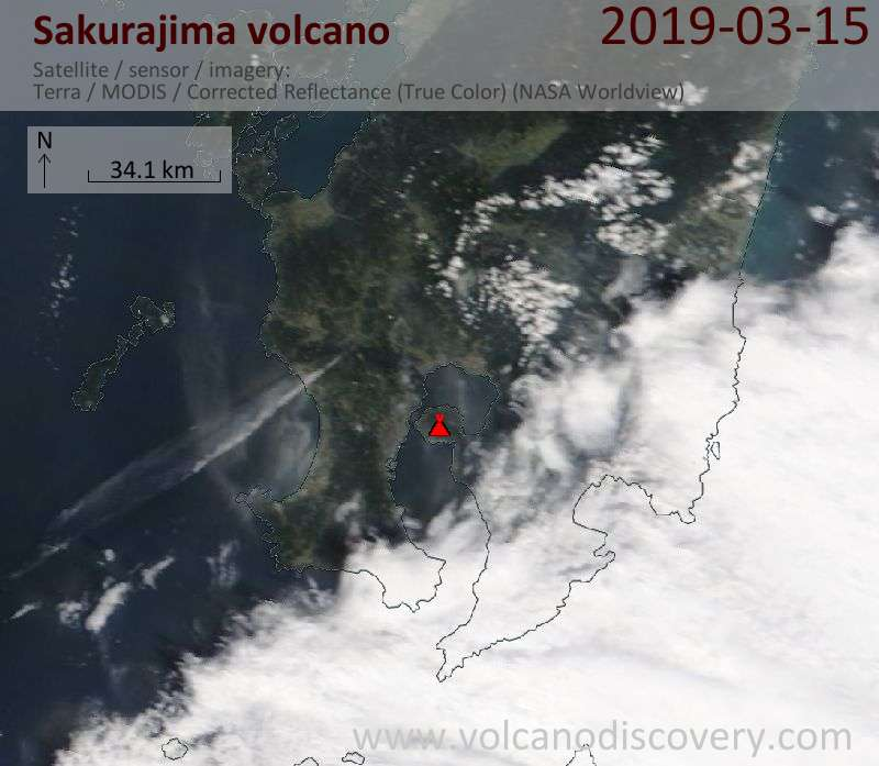 Satellite image of Sakurajima volcano on 15 Mar 2019