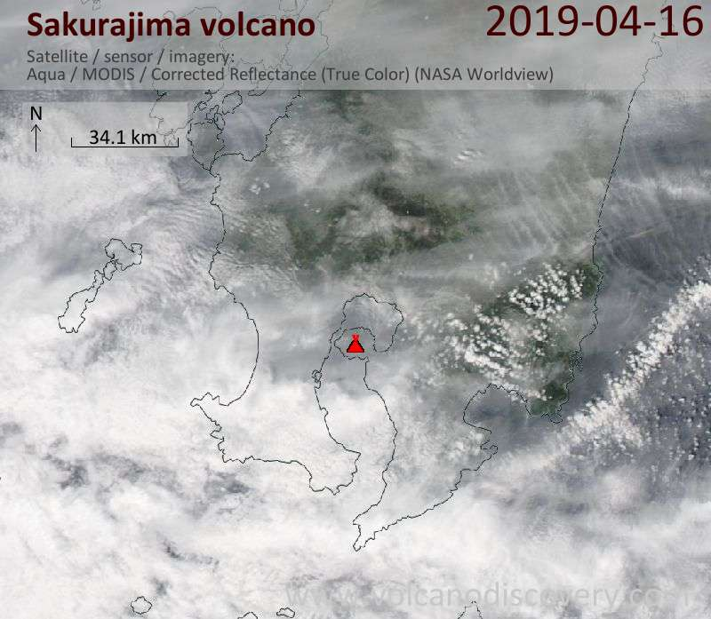 Satellite image of Sakurajima volcano on 16 Apr 2019
