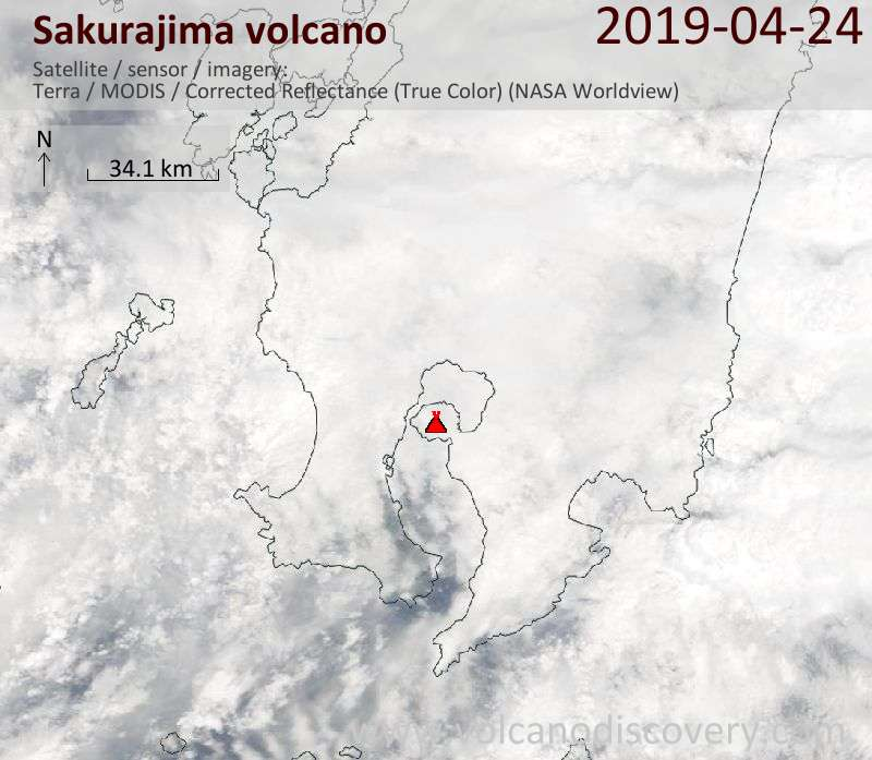 Satellite image of Sakurajima volcano on 24 Apr 2019