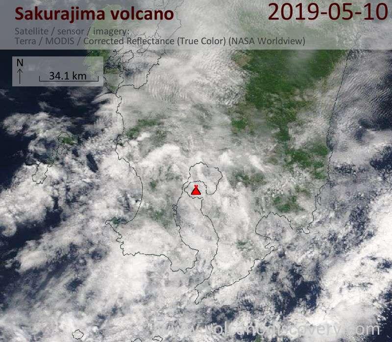 Satellite image of Sakurajima volcano on 10 May 2019