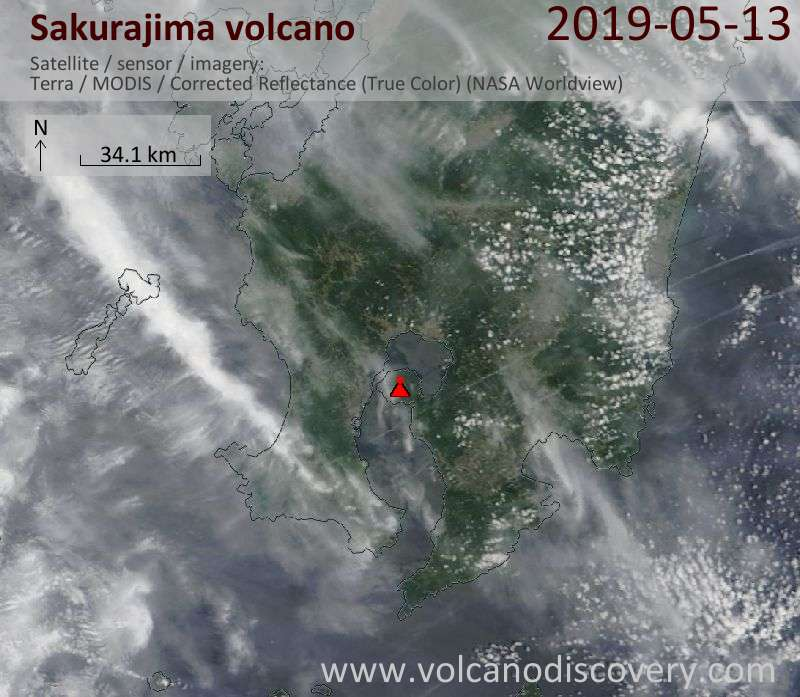 Satellite image of Sakurajima volcano on 13 May 2019