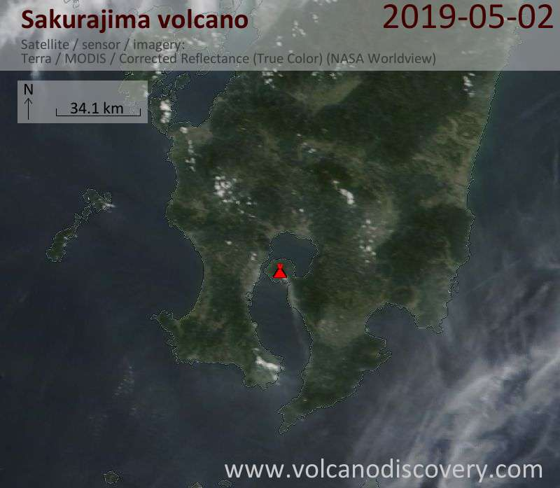 Satellite image of Sakurajima volcano on  2 May 2019
