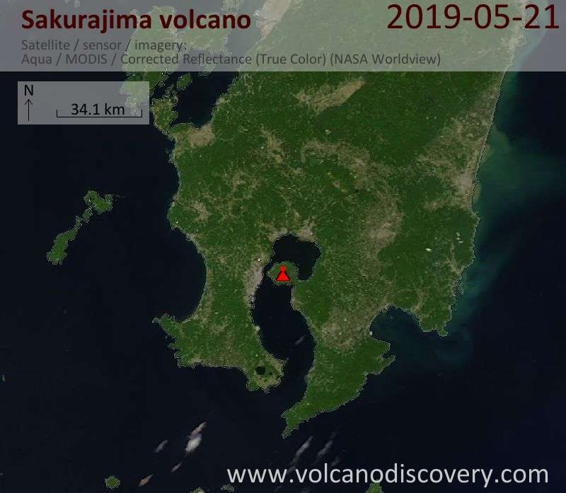 Satellite image of Sakurajima volcano on 21 May 2019