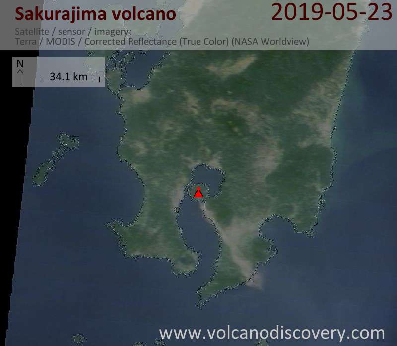Satellite image of Sakurajima volcano on 23 May 2019