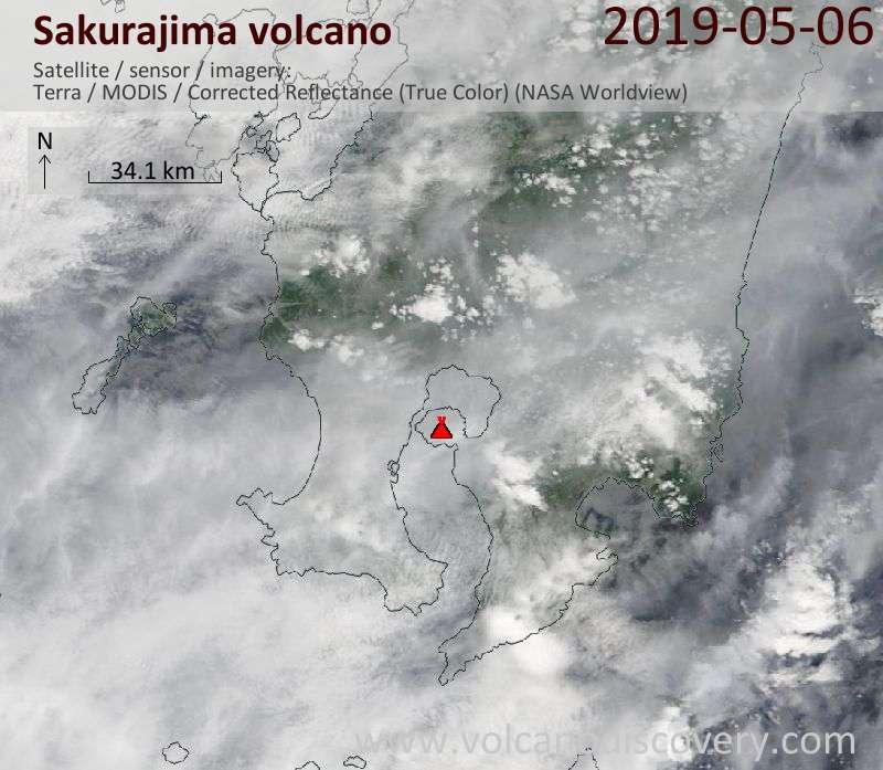 Спутниковое изображение вулкана Sakurajima  6 May 2019