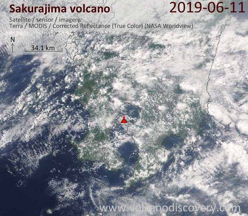 Satellite image of Sakurajima volcano on 11 Jun 2019