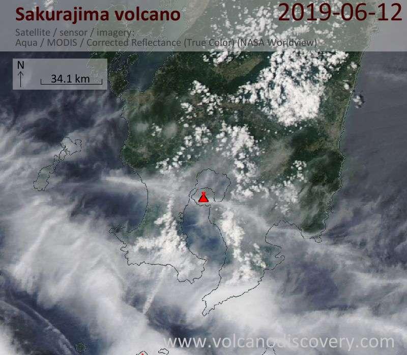 Satellite image of Sakurajima volcano on 13 Jun 2019