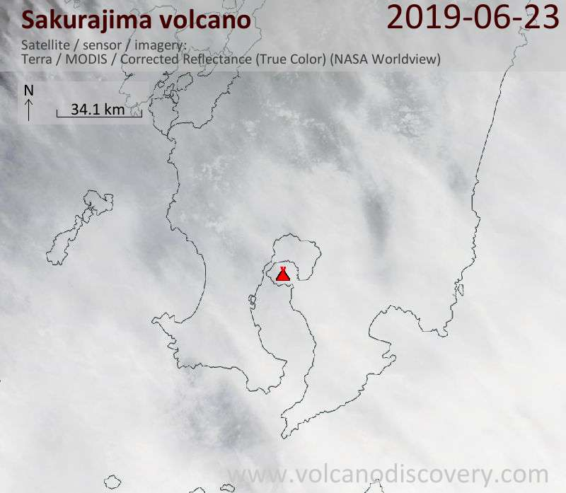 Satellite image of Sakurajima volcano on 23 Jun 2019