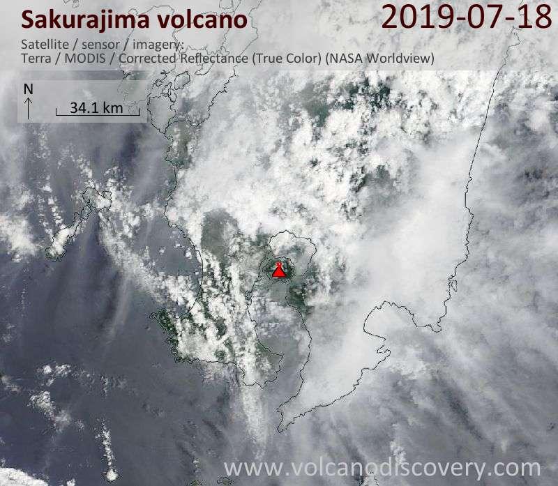 Satellite image of Sakurajima volcano on 18 Jul 2019
