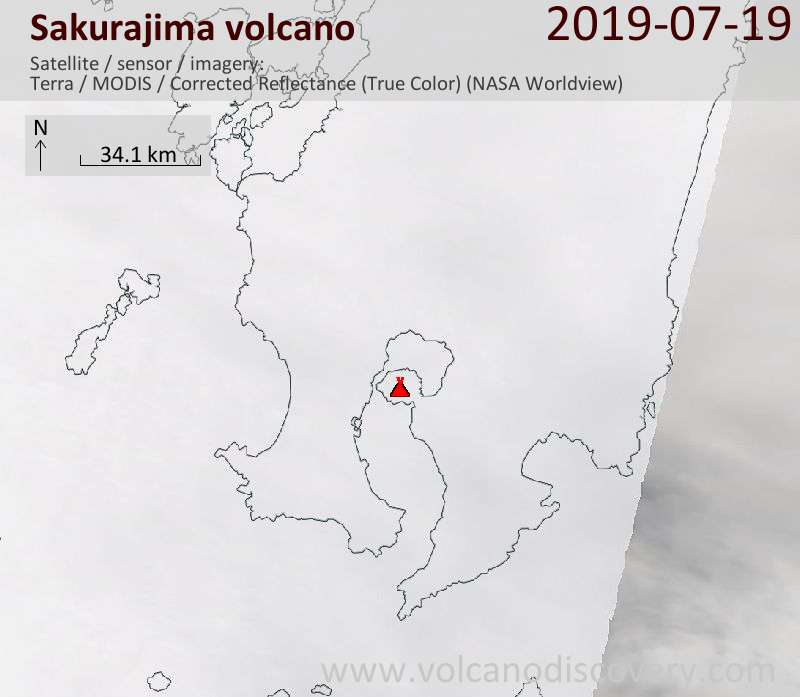 Satellite image of Sakurajima volcano on 19 Jul 2019