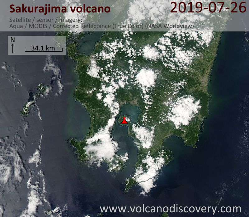 Спутниковое изображение вулкана Sakurajima 26 Jul 2019