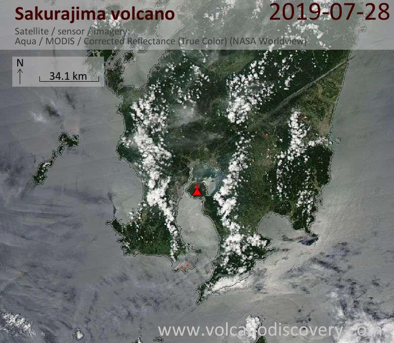 Satellite image of Sakurajima volcano on 28 Jul 2019