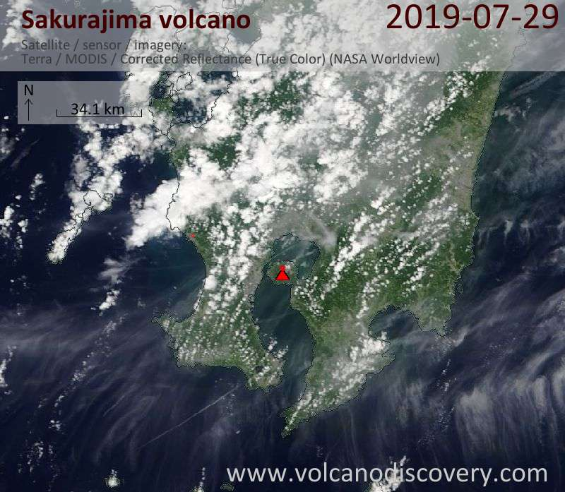 Satellite image of Sakurajima volcano on 29 Jul 2019