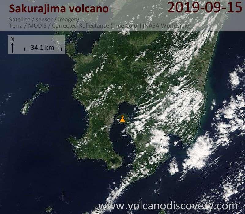 Satellite image of Sakurajima volcano on 15 Sep 2019