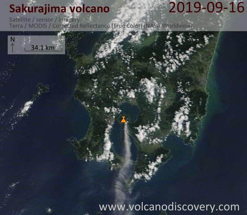 Satellite image of Sakurajima volcano on 16 Sep 2019