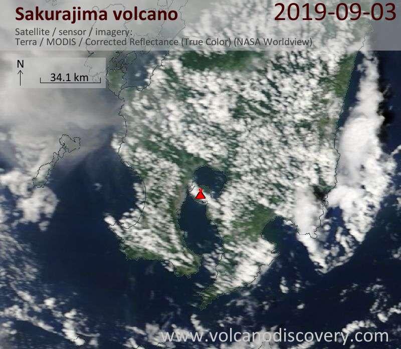 Satellite image of Sakurajima volcano on  3 Sep 2019