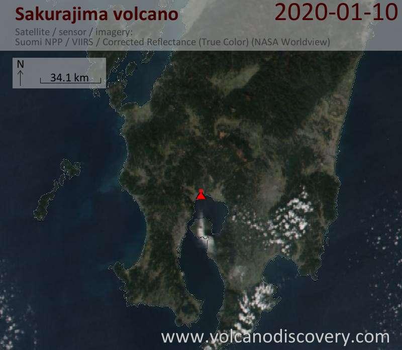 Satellitenbild des Sakurajima Vulkans am 10 Jan 2020