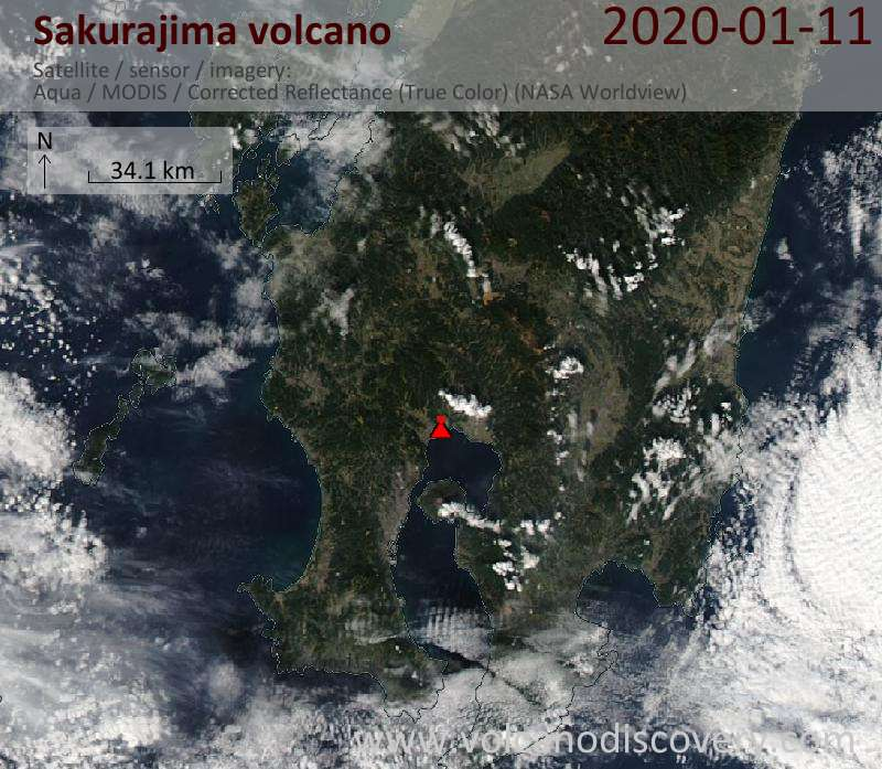 Satellitenbild des Sakurajima Vulkans am 11 Jan 2020