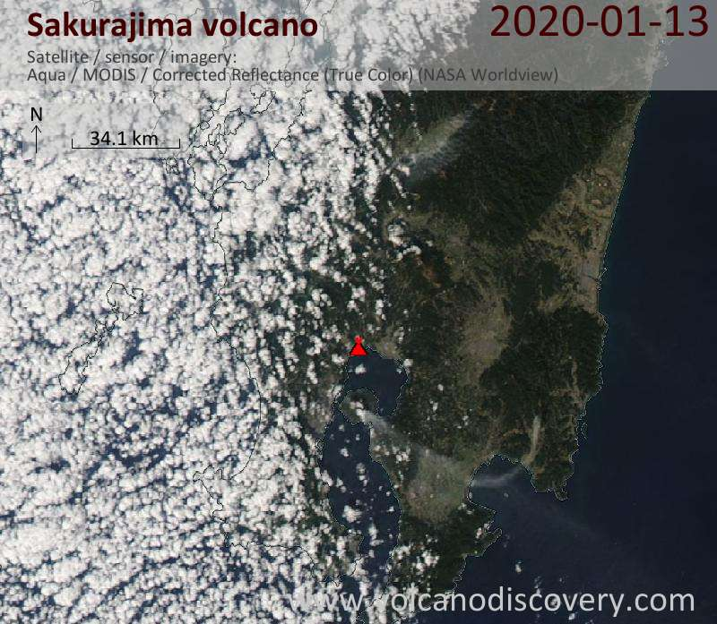 Satellitenbild des Sakurajima Vulkans am 13 Jan 2020