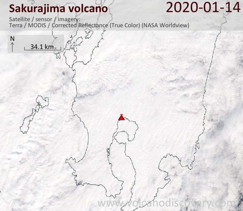 Satellitenbild des Sakurajima Vulkans am 14 Jan 2020