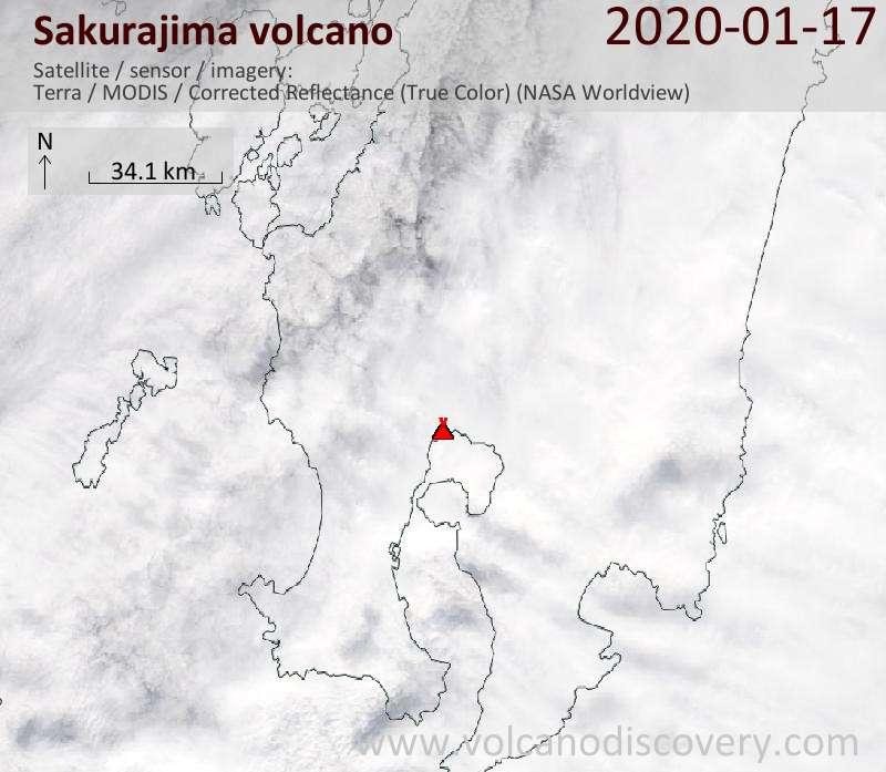 Satellite image of Sakurajima volcano on 17 Jan 2020