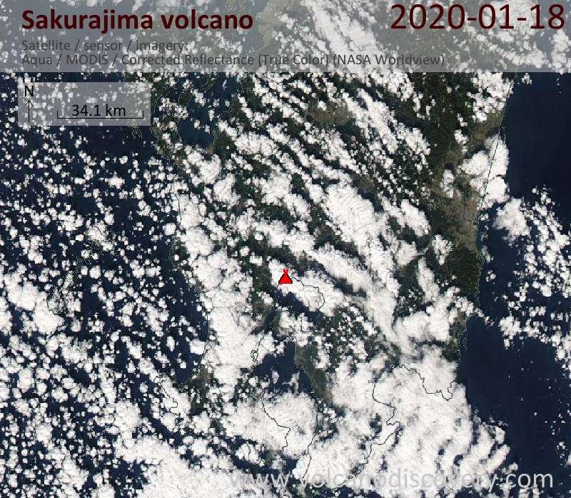 Satellite image of Sakurajima volcano on 18 Jan 2020