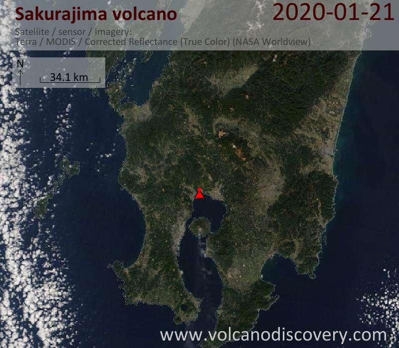 Satellite image of Sakurajima volcano on 21 Jan 2020